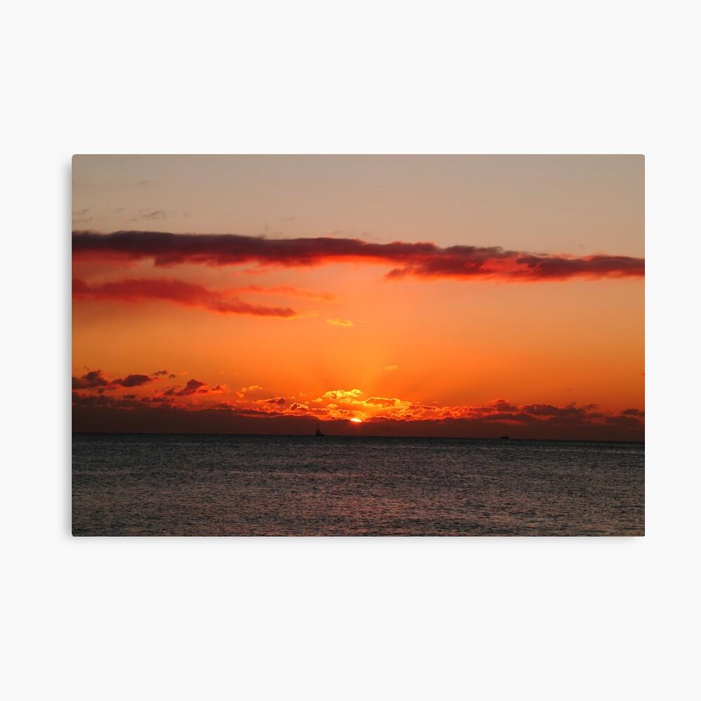 Sailing at sunset Canvas Print