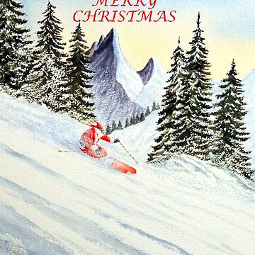 Skiing Santa with Merry Christmas Greeting by billholkham