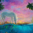 Dream's Oasis-- Unicorn Fantasy Scene by Erica Kilbourn