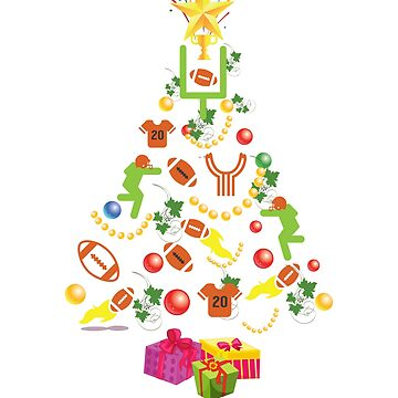 American Football Christmas Tree Shirt Festive Sports Gift T-Shirt Hoodie, Mug & Sticker by thehadgaddad