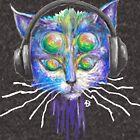 Trippy Headphone Cat by Adrian Day