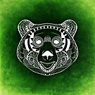 Bear Head In Green Line Drawing by Aniko Gajdocsi