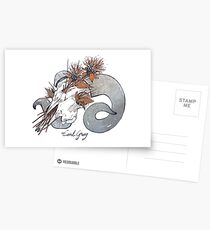 MorbidiTea - Earl Grey with Ram Skull Postcards