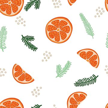 Orange Slices and Pine branches Pattern by ilzesgimene