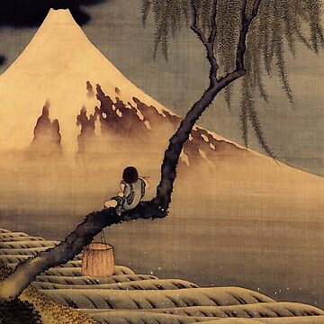 'Boy In Front Of Fujiama' by Katsushika Hokusai (Reproduction) by RozAbellera