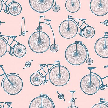 Vintage Bicycles on Pink Background by pugmom4