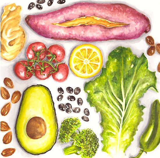 Watercolor Healthy Food  by Erika Lancaster