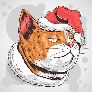 Christmas Cat Illustration by pugmom4