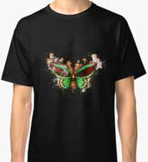 Butterfly green realistic watercolor painted Classic T-Shirt