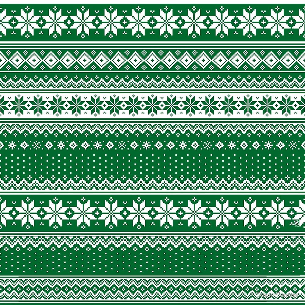 Nordic Scandinavian Christmas Green2 by Susan Sowers