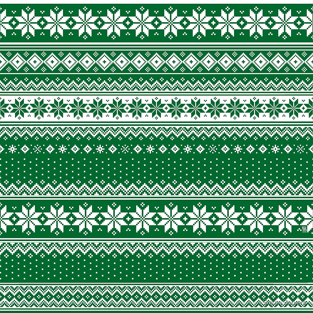 Nordic Scandinavian Christmas Green2 by Susan Sowers