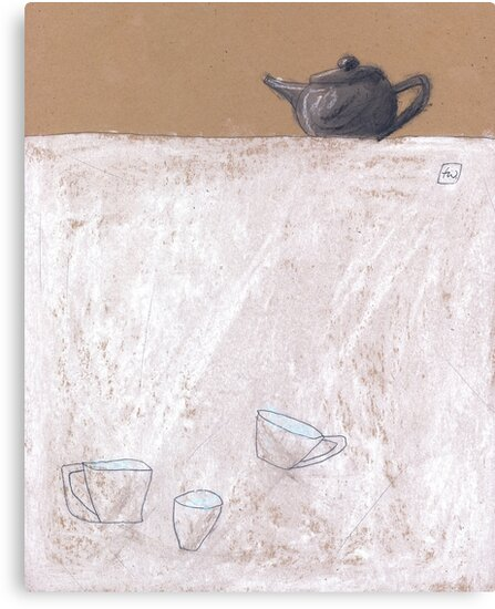 Black tea pot and three cups by Tine  Wiggens