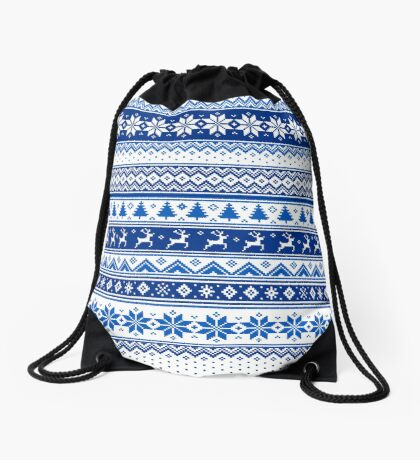 Nordic - Scandinavian Winter Blue Drawstring Bag
