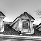 3 windows of the attic-B&W version by henuly1
