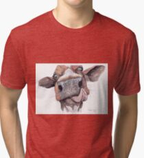 Cow Licking Lips Tri-blend T-Shirt