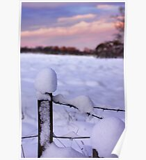 Snowy Fence Post Poster