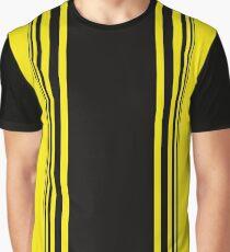Gelb Schwarz Muster Linien Grafik T-Shirt