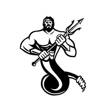 Typhoeus Holding Trident Mascot Black and White by patrimonio