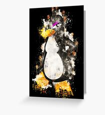 Penguin female girl watercolor painted Greeting Card
