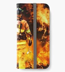 fireman go into flames with brave steps, no fear no regrate, all proude iPhone Wallet/Case/Skin