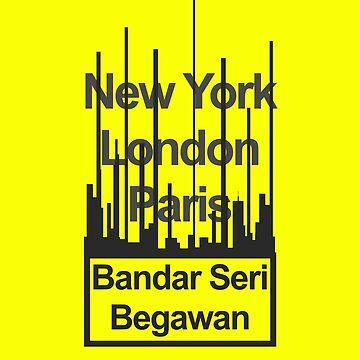 Brunei Bandar Seri Begawan City Text design by GetItGiftIt