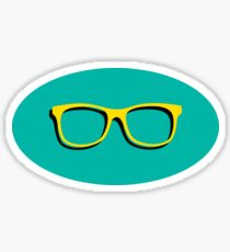 yellow and turquoise sunglasses sticker Sticker