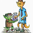 """Greeting Card Project """"Give"""" - Generous Alien Holiday Card by Rusty Everhart"""