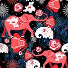 Seamless festive pattern of red elephants with roses by Tanor