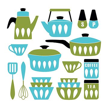 My Midcentury Modern Kitchen In Aqua And Avocado by BunnyThePainter