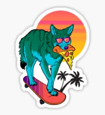 Vaporwave Coyote Sticker