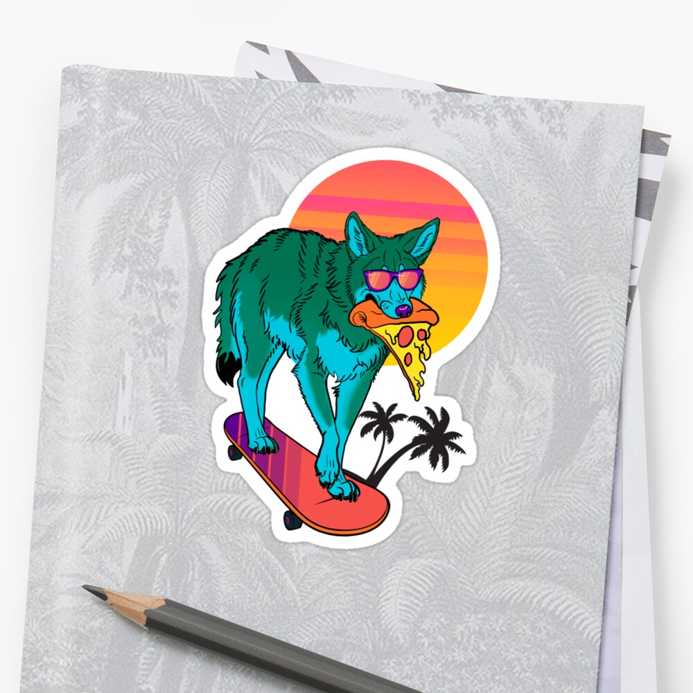 Vaporwave Coyote Stickers