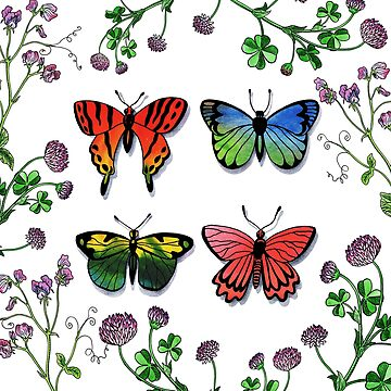 Butterflies Wildflowers Collection In Watercolor by IrinaSztukowski