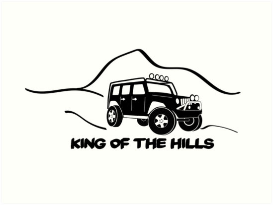 King Of The Hills Jeep Wrangler X Sticker TShirt Design - Jeep t shirt design