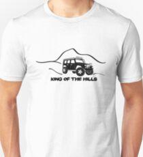 'King of the Hills' Jeep Wrangler 4x4 Sticker T-Shirt Design - Black T-Shirt