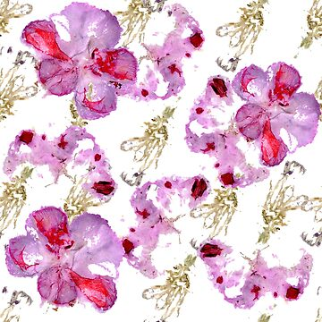 pattern of wild pink flowers by lisenok