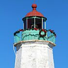 Old Point Comfort Lighthouse at Christmas by searchlight