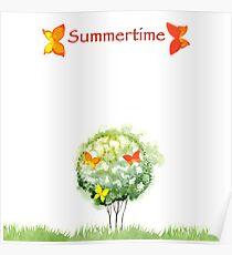 Blooming watercolor tree Poster