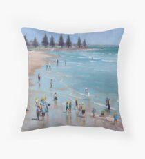 School children on the beach Throw Pillow