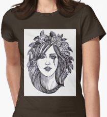 Beautiful crying woman with roses wreath. Womens Fitted T-Shirt
