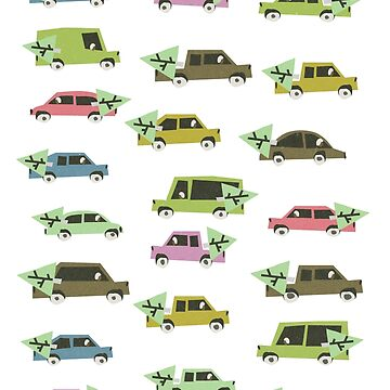 Winter Cars - Vintage Repeat  by elenor27