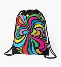 Psychedelic Hippie Abstract Swirl Pattern Drawstring Bag