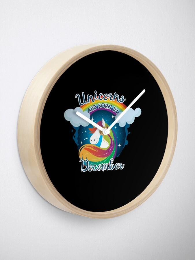 Alternate view of Unicorns are born in December / Einhorn Clock