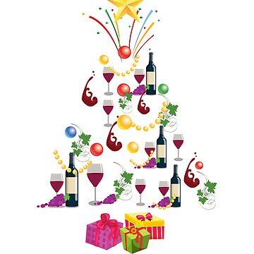 Wine Glass T Shirt Christmas Tree Christmas Gift T-Shirt Xmas Mug, Sticker and Hoodie by thehadgaddad
