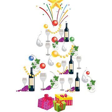 Wine Glass T Shirt Xmas Tree Christmas Gift T-Shirt White Wine Hoodie, Mug Sticker by thehadgaddad