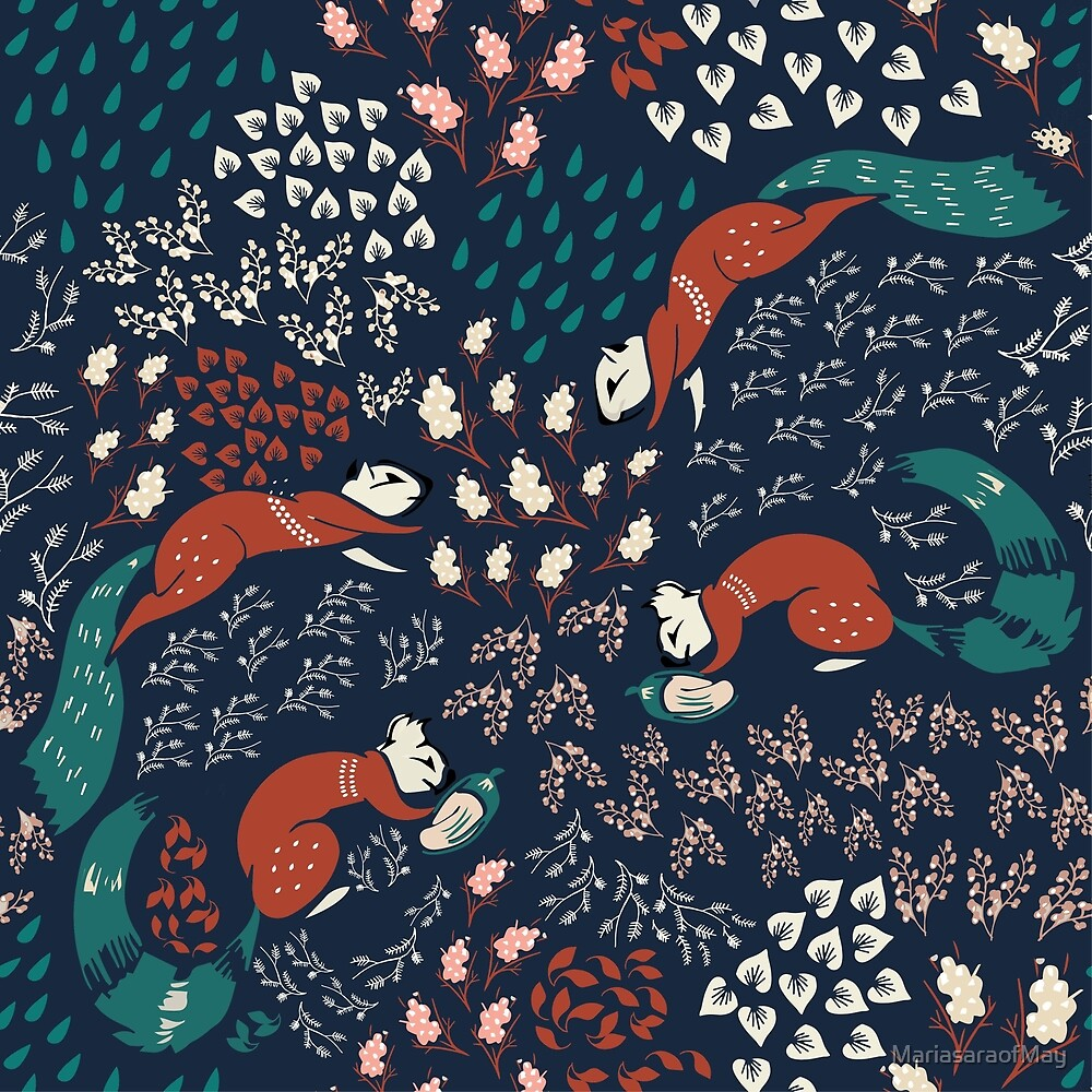 Winter berries and squirrels pattern by Maria sara Di maggio