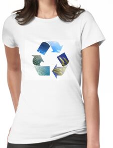 Conceptual recycling sign with images of nature Womens Fitted T-Shirt