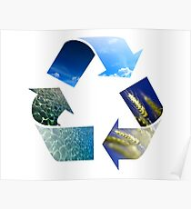 Conceptual recycling sign with images of nature Poster