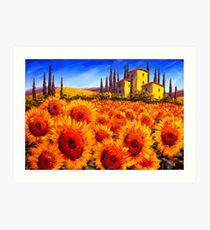 Tuscan Villa in the Sunflowers Art Print