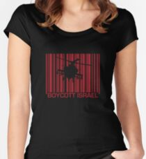 Boycott Israel_punch_out_red (heli version) Women's Fitted Scoop T-Shirt