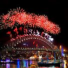 Sydney New Year Eve 2009 Fireworks - Red by Gino Iori